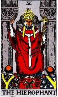 The Hierophant, Smith-Waite deck. Notice the crossed keys at his feet.