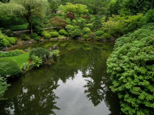 Portland Japanese Garden strolling pond