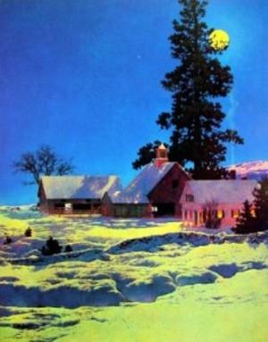 Moonlight Night Winter by Maxfield Parrish