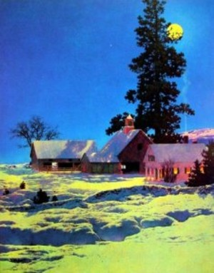Moonlight Night Winter by Maxfield Parrish