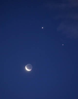 Venus and Jupiter aligned with the Moon on December 1, 2008