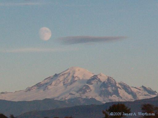 Full Moon Over Mount Baker, Photo by James A. Weythman