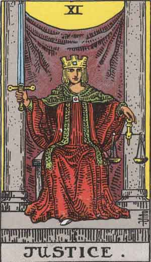 Justice, from the Rider-Waite-Smith Tarot