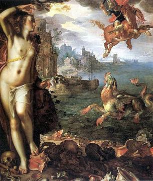 Perseus Releases Andromeda by Joachim Wtewael, 1611