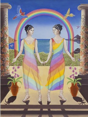 Gemini (Iris & Arke Goddesses of the Rainbow), original artwork by Seattle artist Karen MacKenzie. See end of article for more info.