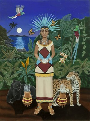 Cancer/Xochiquetzal, original artwork by Seattle artist Karen MacKenzie. See end of article for more info.