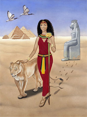 Sekhmet, original artwork by Seattle artist Karen MacKenzie. See end of article for more info.