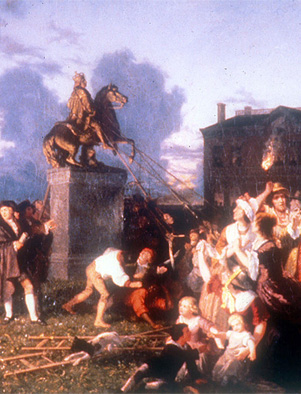 Butting heads with authority. Following the announcement of the Declaration of Independence in 1776, protesters in New York City pulled down the statue of King George III. Painting by Johannes Adam Simon Oertel, c. 1859.