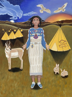 White Buffalo Calf Woman, original artwork by Seattle artist Karen MacKenzie. See end of article for more info.