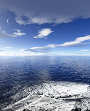 New Moon Over the Sea. © Algol for Dreamstime.com
