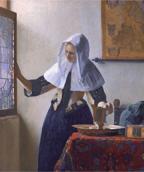 Young Woman with a Pitcher, by Dutch painter Johannes Vermeer, 1660-1662. The painting represented a shift in how the artist used light.