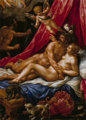 Mars Jumps Venus, by Hendrik de Clerck. Methinks ol' Hendrik did use a male model for Venus.