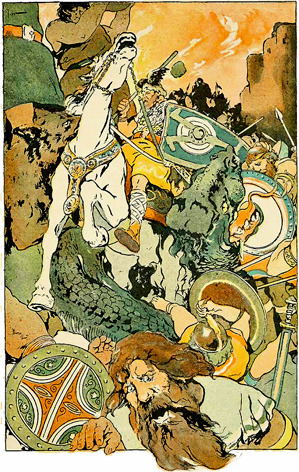 Then the Awful Fight Began, illustration of Ragnarök by George Wright, 1908.