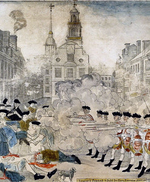 The Boston Massacre. Detail of an engraving by Paul Revere, March 1770.
