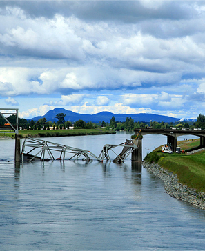 Collapsed bridge on the Skagit River, Washington. Photo courtesy Washington Department of Transportation.