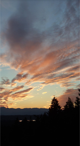 Solstice Sunset. Looking northwest on Puget Sound, 9:20 p.m. © Pat Paquette, 2013.
