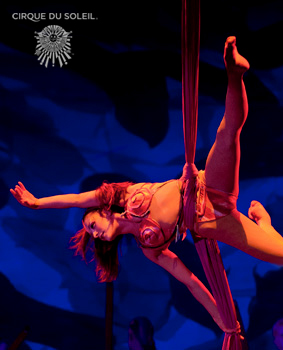 Aerial artist Ginger Ana Griep-Ruiz performs for Cirque du Soleil. More info and links below.
