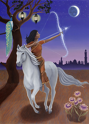 The Hindu goddess Saraswati as Sagittarius. © Karen MacKenzie, 2013. Details below.