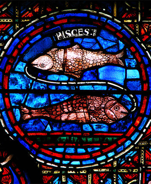 Detail of the zodiac window in the Chartres Cathedral. Image credit: Vassil, Wikipedia.