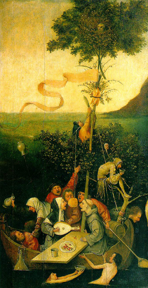 Ship of Fools, by Hieronymus Bosch, 1490-1500.