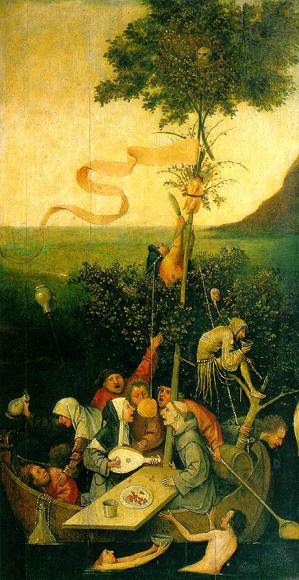 Ship of Fools, by Hieronymus Bosch, 1490-1500.