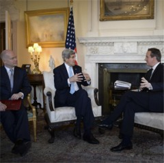 U.S. Secretary of State John Kerry meets British Prime Minister David Cameron and Foreign Secretary William Hague in London to discuss Ukraine. State Department photo.