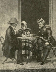 British Commander Lord Raglan, Ottoman Commander Omar Pasha, and French Marshal Pélissier, engraving by Georgy Grachev, 1882.