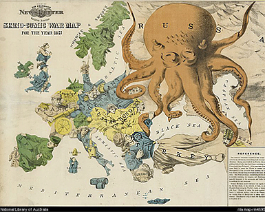 Serio-comic war map for 1877. American propaganda cartoon portraying Russia as a vicious octopus.