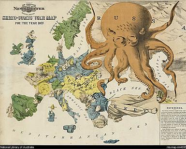 Serio-comic war map for 1877. American propaganda cartoon portraying Russia as a vicious octopus.