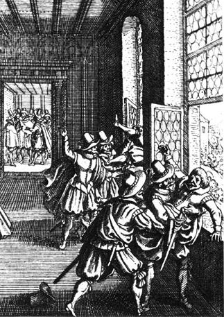 The Defenestration of Prague, wood cut by Matthäus Merian the Elder (1593-1650).