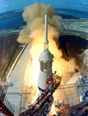 Saturn V rocket, Apollo 11 liftoff, July 1969.