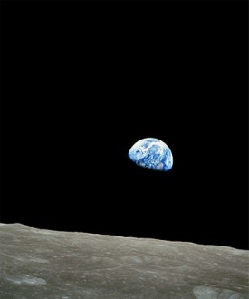 Earthrise. Photo by astronaut William Anders during the Apollo 8 mission, 1968.
